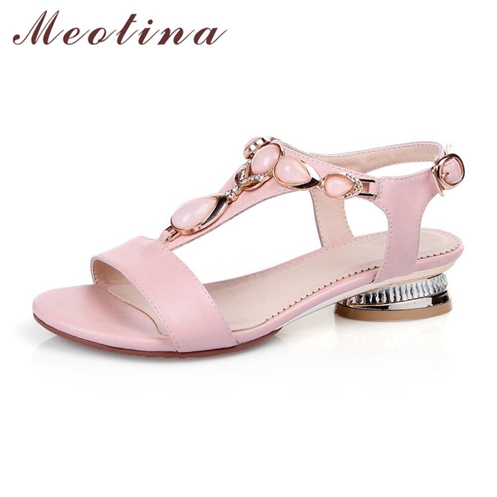 цена  Meotina Shoes Women Sandals Open Toe T-Strap Bohemian Beach Low Heels Female Summer Shoes Crystal Sandals Pink Large Size 9 10  онлайн в 2017 году