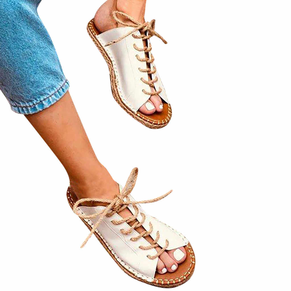 SAGACE shoes Woman Sandals Roman Leisure Large Size Peep Toe Hemp Lace-Up Slipper Sandals Shoes 2019 Shoes summer Sandals