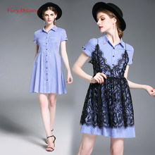 Fairy Dreams Two Piece Dress Summer Style Striped Shirt And Black Lace Dresses 2017 New Style Fashion Clothing vestidos de festa