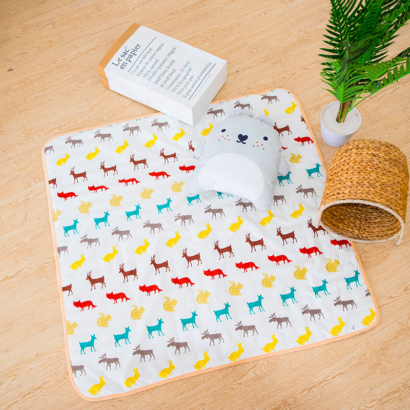 Deer Printed Cotton Canvas Kids Baby Infant Padded Quilted Play Game Mat Pad Teepee Tipi Mat