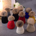 Hot Sell Women Pompom Hat with Real Fur Ball Winter Warm Knit Beanies Skullies Cap