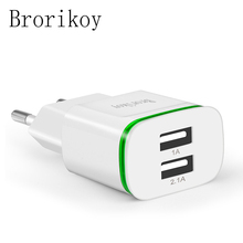 LED Light 2 Ports USB Charger EU Plug 5V 2A Mobile Phone Wall Adapter For iPhone 4 5 6 iPad Samsung S4 5 6 Charging Device