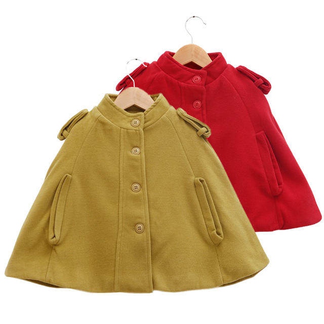 90-130cm girls woolen capes poncho 2016 autumn winter new Fashion British style cloak jackets and coats for kids girls outwear