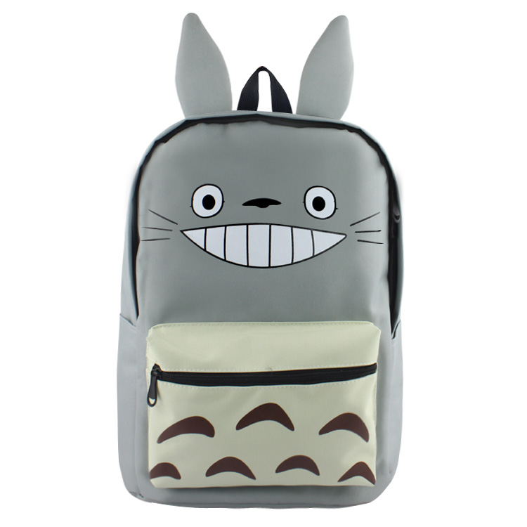 Anime My Neighbor Totoro High Quality Canvas Solid Color Laptop Backpack/Double-Shoulder School Bag: Tonari No Totoro anime tonari no totoro cosplay canvas shoulder bag female japanese and korean college wind travel backpack student bag graffiti
