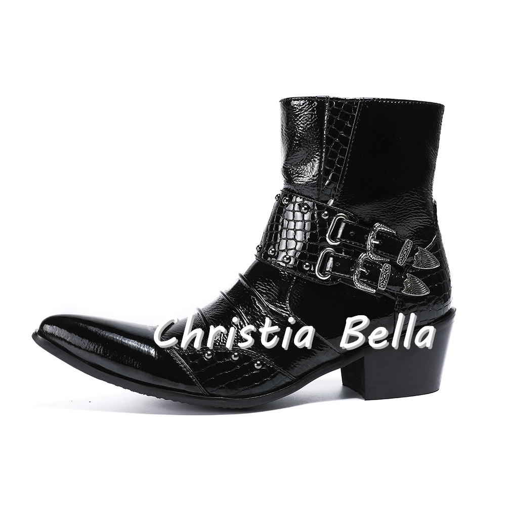 353c27897a9 Christia Bella Punk Style Genuine Leather Men Ankle Boots Pointed Toe Mens  Military Cowboy Boots High Top Strap Cool Mens Shoes