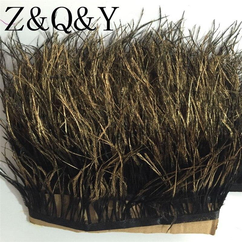 Z & Q & Y Природный 10-15 см (4-6 дюймов) черный Страус волос распыляется золото головы из ткани 5 м DIY Одежда ювелирные украшения