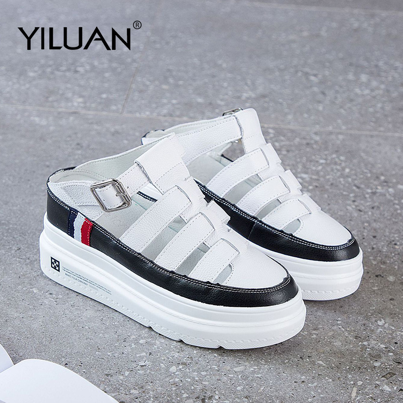 Platform Slippers hollow Breathable women shoes basic 2020 Summer White Casual Shoes woman Leather Increase Student