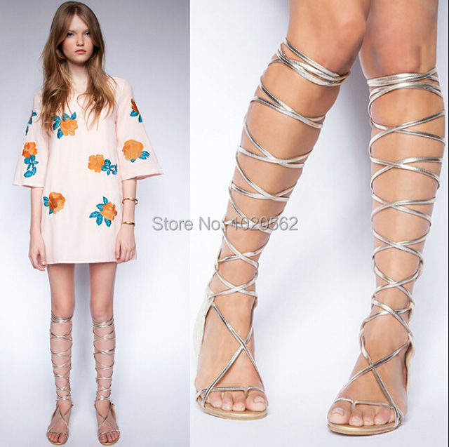 b845f82e162 Girls lace up knee high boots black silver flats beach sandals cover heel  gladiator sandals size 34-40 free shipping ledy shoes