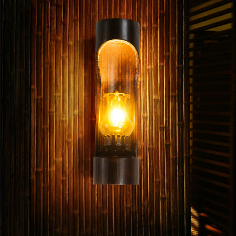 Chinese Style Vintage Bamboo Led E14 Outdoor Wall Lamp