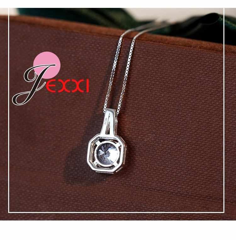 Fashion Perhiasan dengan Mengkilap Putih Kubik Zircona Wanita/Gadis Pesona Kalung 925 Sterling Silver Rantai & Liontin Grosir