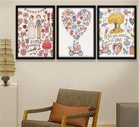 Os Amantes dos desenhos animados Dia Dos Namorados Decoração Pinturas 3 Peças Pinturas Da Lona Pintado na Parede Da Lona de Arte Decoração Pictures