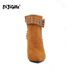 Image 3 - Autumn Winter Women Boots zip High Heels Boots Fashion Sexy Pointed Toe Ankle Boots High Heels Botas Mujer Rivet Drop Shipping