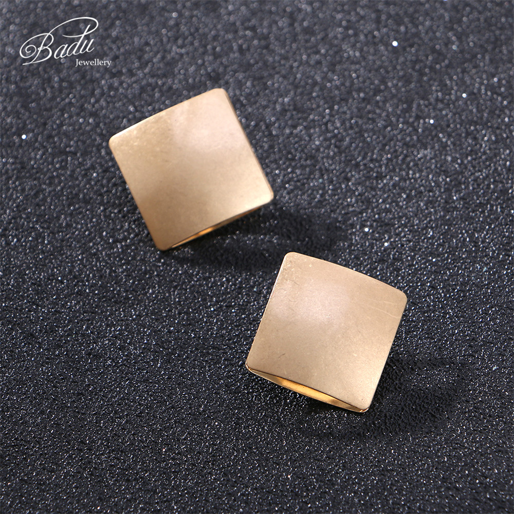 Badu Gold Metal Earring Large Square Hollow Stud Earrings Women Punk Fashion Exaggerated Jewelry For Halloween Party