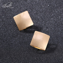 Badu Gold Silver Metal Earring Large Square Hollow Stud Earrings Women Punk Fashion Exaggerated Jewelry for Halloween Party