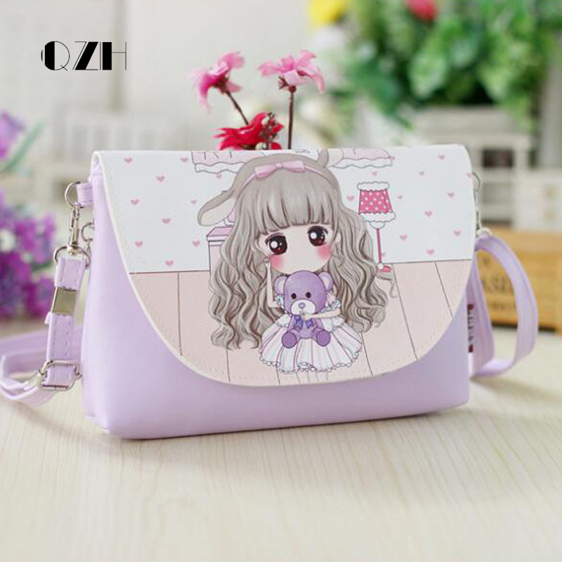 QZH Cartoon Printing Kids Baby Messenger Bags Clutch Women Crossbody Bag Female Shoulder bags for Girls Party Handbags qzh cartoon kids children mini bags fruit messenger bags coin purse pouch handbags for kindergarten baby girls boys shoulder bag