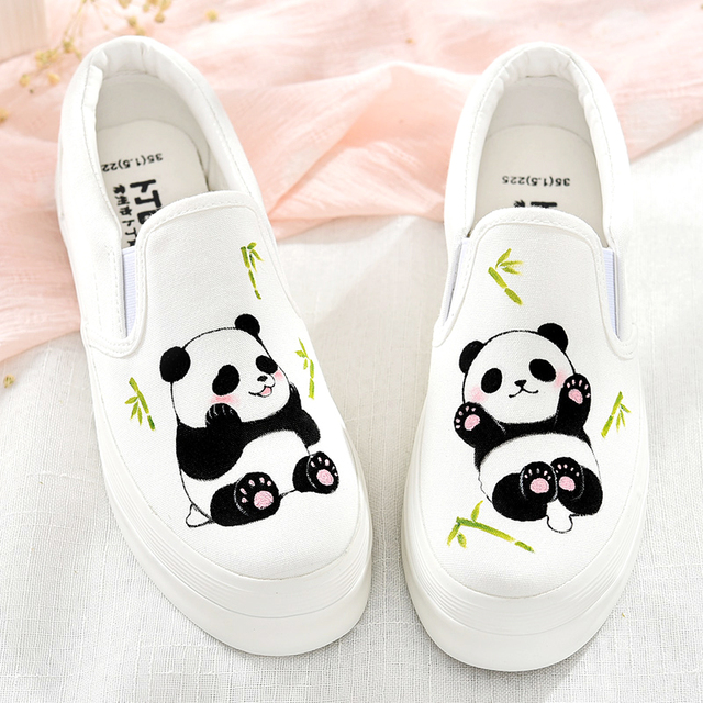 Lovely China Pandas Pattern Design New 2018 Summer Women Hand Painted  Canvas Shoes Casual Female Tenis Feminino Big Size Mujer 8f743733d