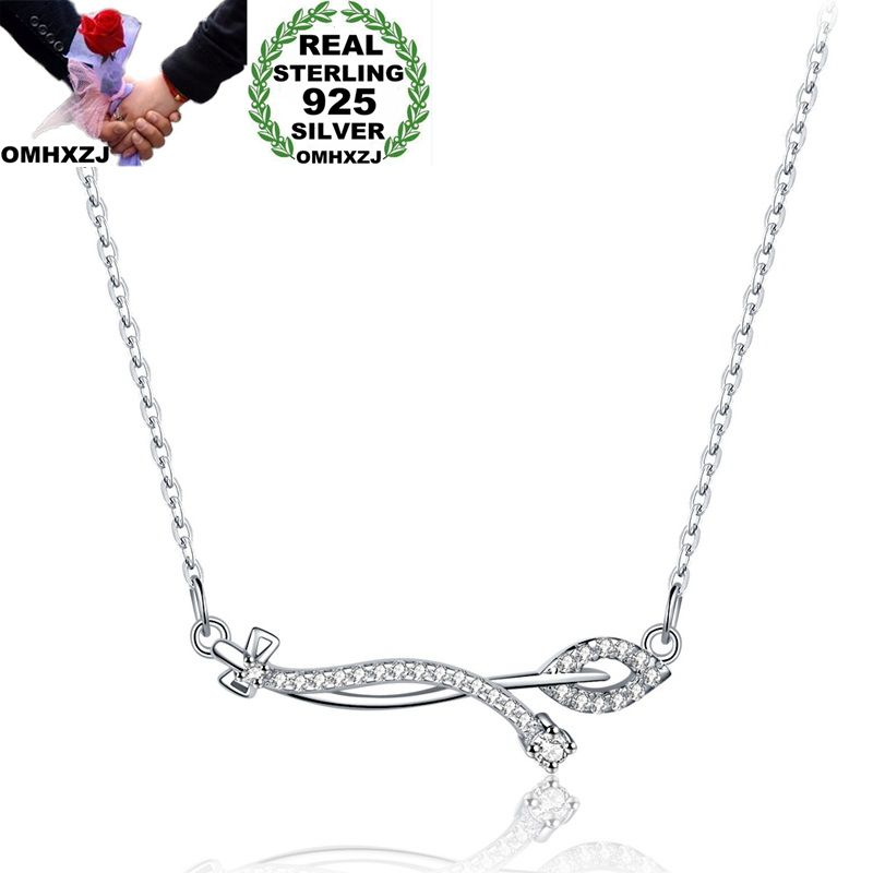 OMHXZJ Wholesale Personality Fashion OL Woman Girl Party Gift White Leaf AAA Zircon 925 Sterling Silver Pendant Necklace NC65OMHXZJ Wholesale Personality Fashion OL Woman Girl Party Gift White Leaf AAA Zircon 925 Sterling Silver Pendant Necklace NC65