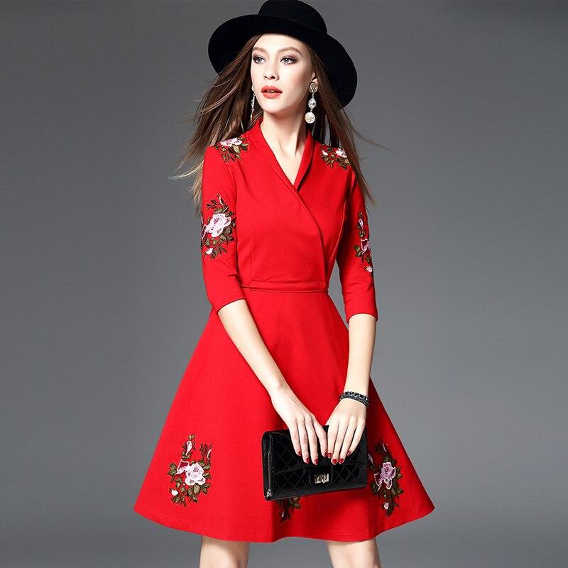 Automne Nouvelle 2017 De red Mode Mini cou Dame Smoking Robe Bureau Foncé Dark Bal Bleu Rouge V Manches Sexy Soirée Trimestre Trois Blue qpEEOwrd