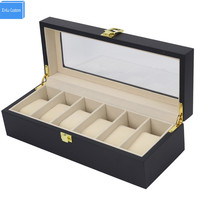 Black Out Watch Box&Case All World Luxury Watch Case 6 Slots Solid Wood Storage Organizer Display Boxes Custom Watch Boxees logo