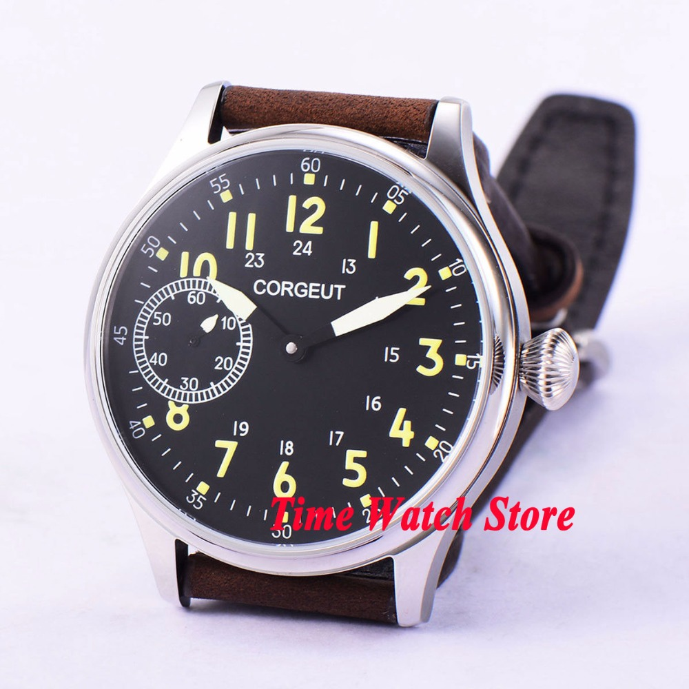 Vintage 44mm Corgeut men's watch black dial luminous 17 jewels 6497 Mechanical Hand Winding movement cor1 цена и фото