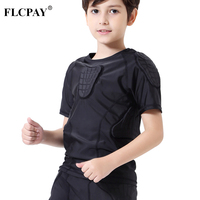 Children Impact Compression Padded Shirts Soccer Basketball Skateboarding Chest Protective Gear Padded Shirt Youth Boys Padded