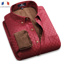 2015 New Arrival Mens Brand Solid Color Velvet Winter Warm Casual Shirt Long Sleeved Slim Fit