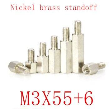 100 個 m3x55 + 6 オス女性ニッケル真鍮スタンドオフスペーサー M3 六角形スタッド柱