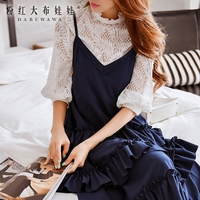 Koszulka jesień nowy koreański białe koronki stanąć kołnierz szczupła moda bubble rękawy bluzki kobiety hurtownie