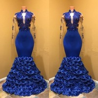 Синий вечернее платье вечерние платья Длинные Рукава Vestidos De Festa цветочный вечернее платье Аппликации с длинными Вечерние платья Элегантный