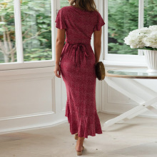 Summer Beach Dress Women Floral Print Long Chiffon Bohemian Dress Short Sleeve Boho Style Maxi Dress Ruffles Sundress Vestidos
