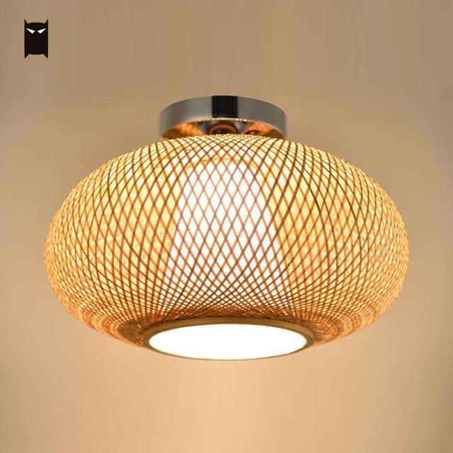 bamboo wicker rattan shade flush mount ceiling light fixture rh aliexpress com LED Flush Mount Ceiling Light Fixtures Kitchen Flush Mount Ceiling Light Fixtures