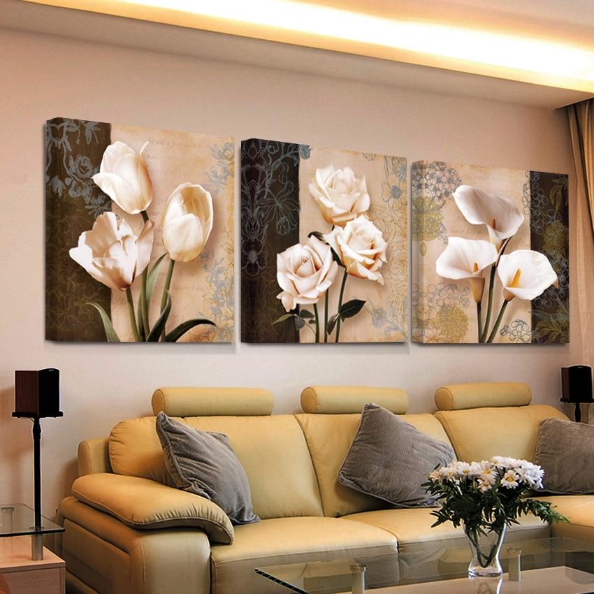 Peintures triptyque de fleurs art deco 3 pi ces set for Deco coloree salon