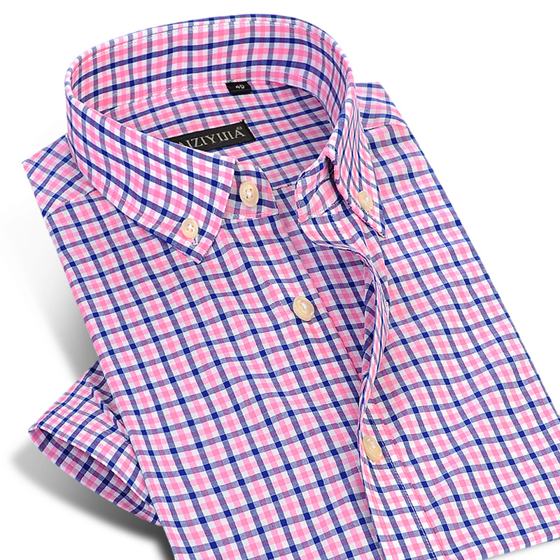 Men's Short Sleeve Contrast Plaid Dress Shirt Comfortable Pure Cotton Thin Smart Casual Mini-Check Slim-fit Button-down Shirts