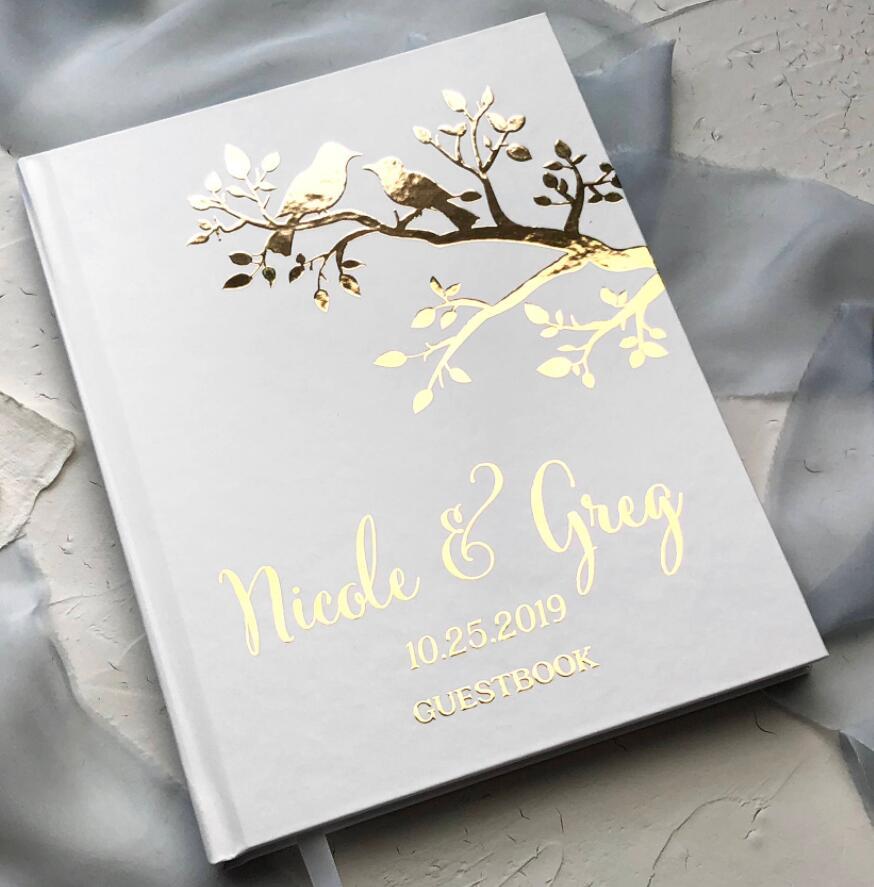 Personalized Gold Foil Bird Love Wedding Book Journal Wedding Guest Book Modern Wedding Guests Sign In Book Photo Albums Signature Guest Books Aliexpress