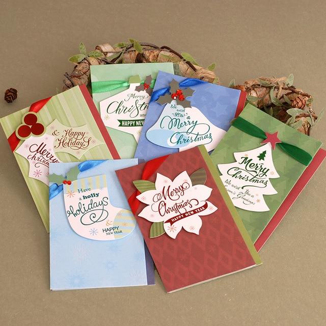 6pcs Lot Color Webbing Handmade Birthday Card Postcards Group