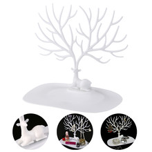 Decorative Deer Antler Tree Design Bracelet Necklace Holder Jewelry Organizer Stand Ring Tray (White)(China)
