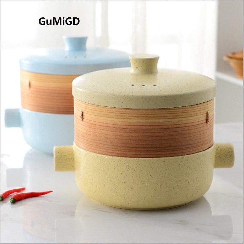 Cuisson en céramique à double usage vapeur vapeur cocotte soupe pot au feu résistant à la chaleur en céramique pot de cuisson à double usage en céramique
