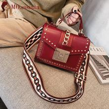 4fb6415c2e38 Заклепки лоскут сумки кожаные сумки на ремне для женщин 2019 новый ретро  дамы небольшой Кроссбоди мешок красные женские женская .
