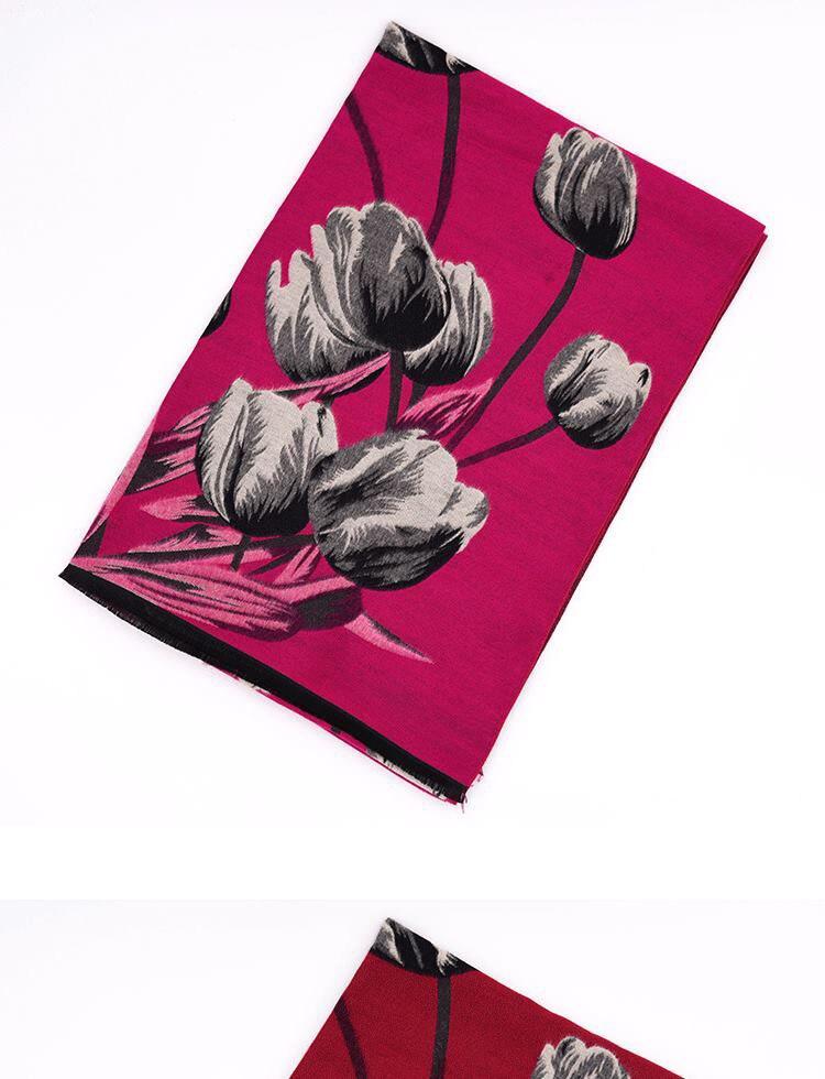 luxo moda tulip flores xale cachecóis cinza