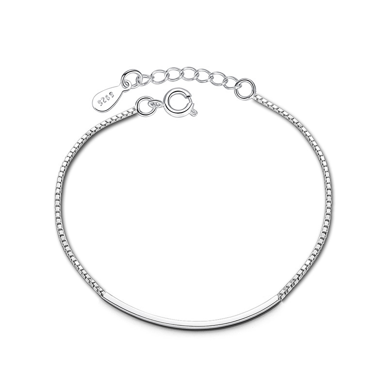100 925 sterling silver fashion simple design ladies bracelets jewelry wholesale no fade bracelet drop shipping box chains in Strand Bracelets from Jewelry Accessories