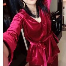 Woman  Velvet Suit Slim Female Blazer New Fashion Womens Casual Coat Jacket +pants 2 piece set women