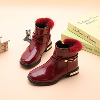 Children's Boots 2018 Autumn Winter New Girls Short Martin Boots Female Student Fashion Ankle Boots Leather Shoes Black Red