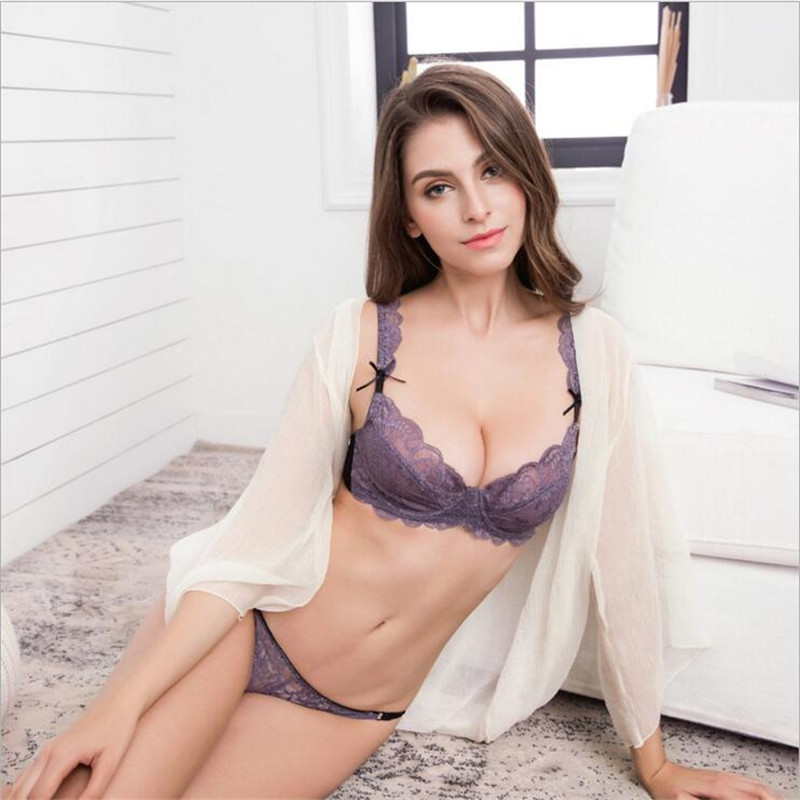 d0d7d82e34b49 Sexy Bra Set Promotion Ultra-Thin floral transparent lace bra Embroidery  Deep V Women s Underwear Underwire Fancy 3 4 Cup