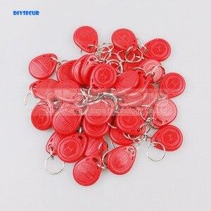 DIYSECUR 100 шт. 125 кГц RFID карты брелоки ключ Chian для системы контроля доступа комплект RFID считыватель использовать красный