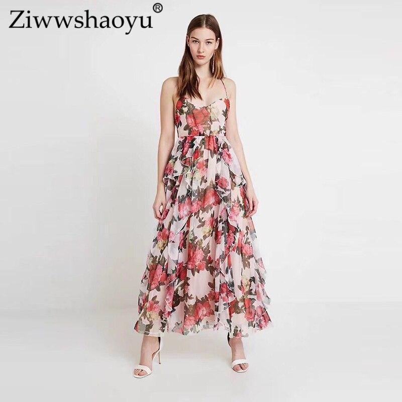 8908d55afab1e09 Ziwwshaoyu сексуальные платья без спинки v-образным вырезом печати оборками  Элегантный Отпуск Платье Весна и