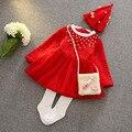 Рождество зима Новый стиль утолщаются жемчуг принцесса детей малыш девочка платье