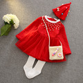 Christmas winter new style Thicken pearls princess Children kid baby girl dress