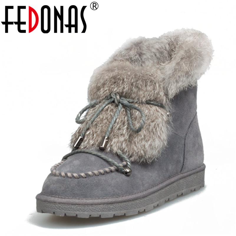 FEDONAS Fashion Women Winter Warm Wool +Rabbitr Fur Snow Boots Genuine Leather Shoes Woman Flats Heels Ankle Boots Size 34-42 obsessive alabastra белый ажурные трусики стринги