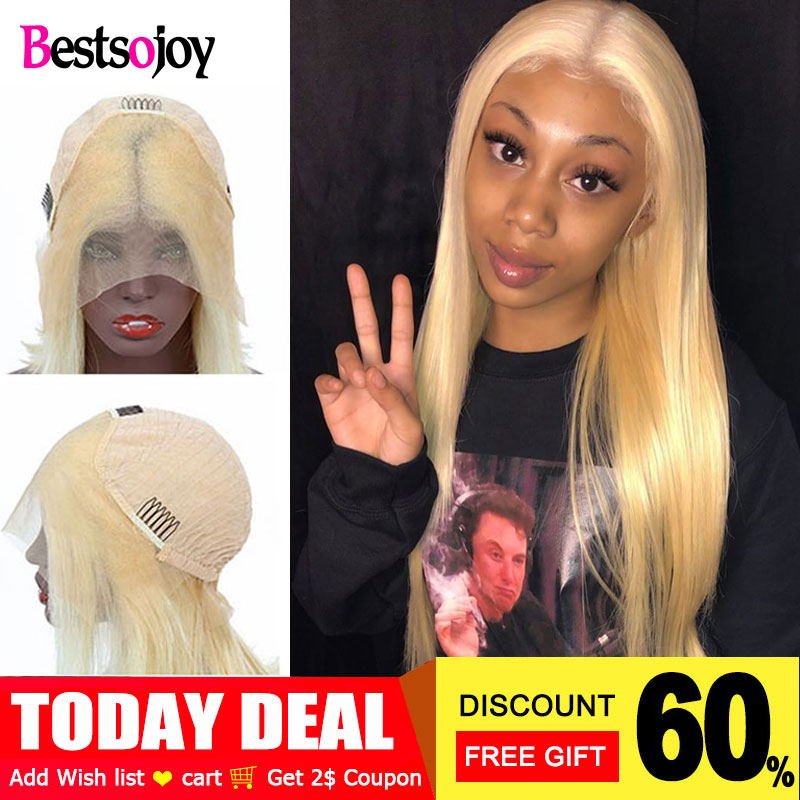Bestsojoy Wigs Blonde Human-Hair Lace-Front 250-Density 613 13x4 Straight