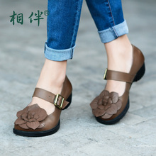 Women's shoes handmade genuine leather vintage flower elegant comfortable round toe single shoes button